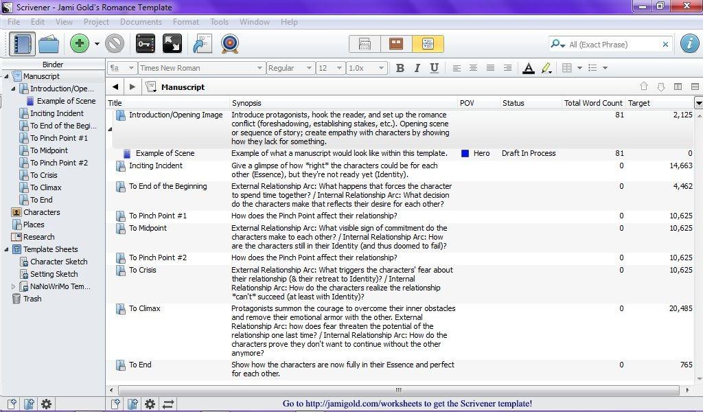 Screenshot of Scrivener Outliner view
